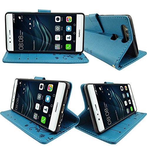 KUAWEI Huawei P9 Hülle Wallet Case Huawei P9 Hülle & Cases Flip Hüllen für Dein Huawei P9,Handy Schutzhülle Kunstleder Handycover Klapphülle mit Kartenfach und Magnetverschluss (Blau) - 2