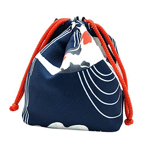 FITYLE Portable Japonais Sac à Cordon Femmes Filles Yukata Robe Kimono Porte-clés Porte-Monnaie Portefeuille Maison déjeuner Bento boîte Nourriture Divers - Bleu Profond