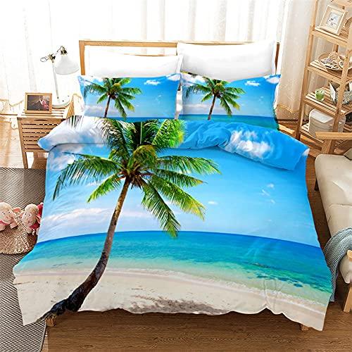 Lake Blue Sea Beach Biancheria da Letto 3D Scenario Naturale Seaside Coconut Tree Copripiumino Stile Romantico Set di Piumini Queen King Twin Full Size Tessili Per La Casa,King