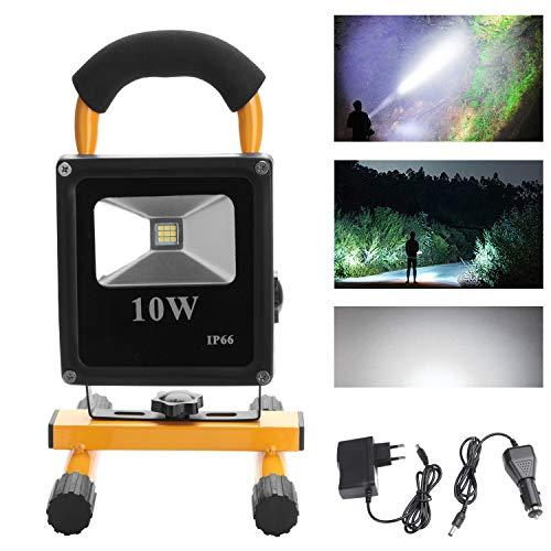 Hengda® 10W Weiß LED Strahler Akku Fluter IP65 Außen Baustrahler handlampe Tragbare Wiederaufladbare Camping Lampe