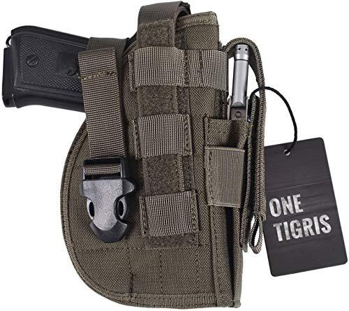 OneTigris Taktische Molle Modular Pistolenholster mit Magazintasche für Rechtsschützen 1911 45 92 96 Glock (Ranger Grün)