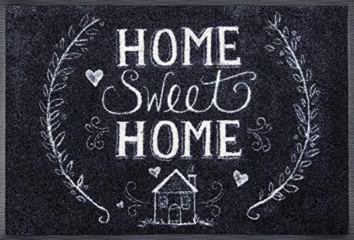 wash+dry Fußmatte Chalky Home, 50x75 cm, innen und außen, waschbar, schwarz