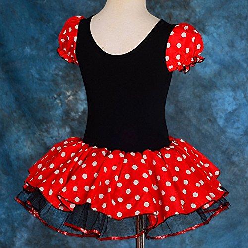 Lito Angels Disfraz de Minnie Mouse con aro de Pelo con Orejas de ratón para niña Vestido de Falda de Tutu de Danza de Lunares Rojos Talla 4 a 5 años