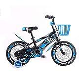 FHKBK Bicicletas para niños 12/14/16/18 Pulgadas Bicicleta Unisex para niños con Ruedas de Entrenamiento, Canasta de Hierro, Freno de Mano y Pedal Trasero de 3-8 años Azul, 12'