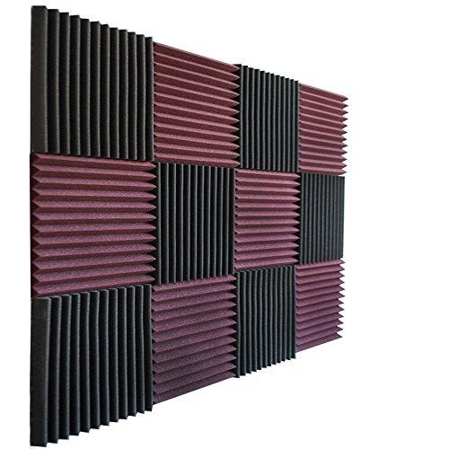 Foamily 12 Pack- Burgundy/Charcoal Acoustic Panels Studio Foam Wedges 1' X 12' X 12'