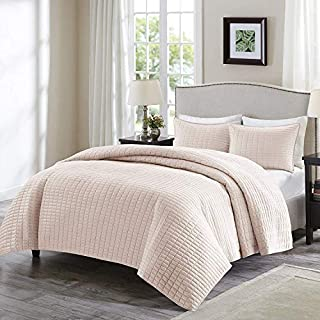 Comfort Spaces Kienna 3 Piece Quilt Coverlet Bedspread Ultra Soft Hypoallergenic Microfiber Stitched Bedding Set, Full/Queen, Blush