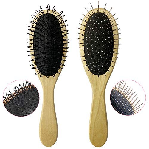 Wig Brush for Synthetic Wigs, Detangling Wigs Professional Wood Handle Wig Hair Comb Wig Hair Brush Set, 2 Set (Style- A - 2 pack)