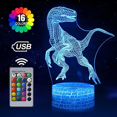Dinosaurier 3D Nachtlicht für Kinder, 7 Farben Nachtlicht Lampe Touch USB Lade Tisch Schreibtisch Schlafzimmer Dekoration, coole Geschenke Ideen Geburtstag Weihnachten für Baby Freunde