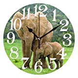 ColorMu Wall Clock Round Diameter 10 Inch Elephant Animal with Baby Child On Green Woodland Forest Acrylic Home Office Decorative