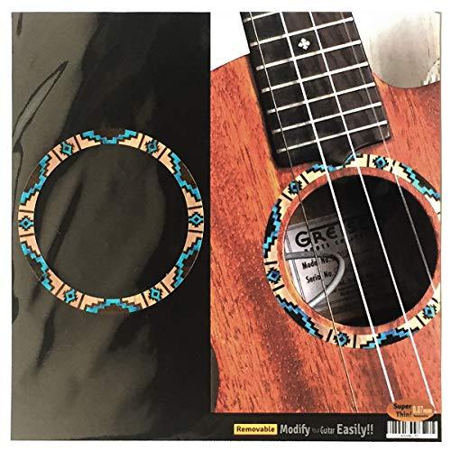 Adhesivo para ukeleles Tenor - Roseta/Purfling - Patrón nativo americano - Natural