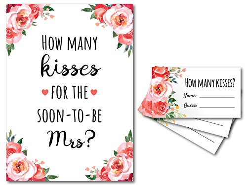 How Many Kisses for the Soon to be Mrs Bridal Shower Game 1 Sign + 30 Guess Cards (Pink Floral)