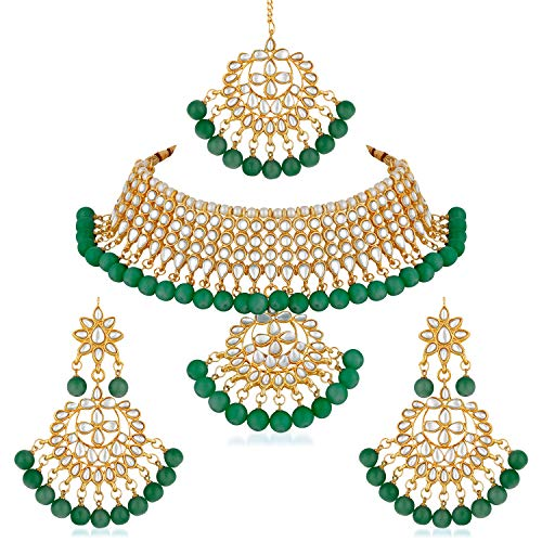 Apara Green Kundan Bridal Traditional Fashion Necklace Jewellery Set for Women