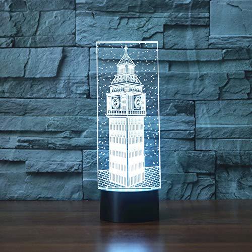 Luz nocturna 3D led Big Ben Visual Night Light Colorido Londres BuildingTable Lamp Dormitorio Decoración Iluminación