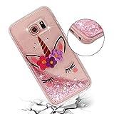 ChoosEU Silicona Glitter para Funda Samsung Galaxy S6 Edge Transparente Dibujos Brillante Unicornio Bonita Carcasas Liquido Purpurina TPU Case Antigolpes Bumper Cover Protección Caso - Unicornio