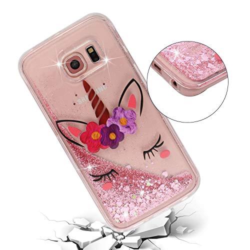 ChoosEU Silicone Glitter Cover per Samsung Galaxy S6 Edge Trasparenti Disegni Brillantini Colorate Belle TPU Morbido Antiurto Gomma Custodia Brillante Bumper Case Chiaro Protezione - Unicorno