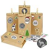 Calendario de Adviento para rellenar, color gris, calendario de Adviento DIY, 25 bolsas de calendario de Adviento con números adhesivos y pinzas, calendario de Navidad para niños, niñas y niños