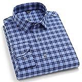 Camisa Hombre Manga Larga,Camisa A Cuadros De Algodón con Rayas Clásicas Azul A Cuadros Camisas Casuales De Manga Larga con Bolsillo Botón Tops Padre Novio, XS