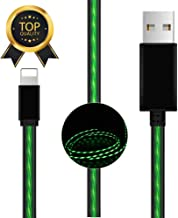 BAVNCO 4ft Visible LED Light Up Flowing Phone Charger Cable USB Data Syncing Fast Charging Cord Compatible with Phone Xs Max/X/ 8/8 Plus/ 7/7 Plus/ 6s/ 6s Plus/ 6/6 Plus/ 5/5S/ 5C/ SE and More (Green)