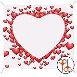 BELLE VOUS Herz zum Ausschneiden Hochzeit Deko - L2 x B1,8m - Rotes Hochzeitsherz zum Ausschneiden Hochzeitsgeschenke für Brautpaar mit 2 Paar Scheren - Deko Hochzeit Spiel & Foto-Hintergrund