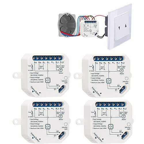LoraTap WIFI Smart-Einbauschalter Relais Modul für elektrische Rolläden Vorhänge, Jalousien und Markisen Zeitschaltuhr Schalter Rolladenzeitschaltuhr Timer für Rolladenmotor (4)