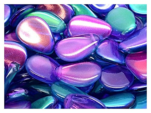 Rutkovsky 10 pcs Anemone Petal Beads 11x16 mm, Crystal Pink-Blue Two Tone Luster, Czech Glass