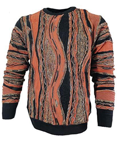 Montechiaro Italy R-Neck Pullover Intarsienmuster schwarz erdfarben Gr. 50/M bis 60/4XL (XXL-56)