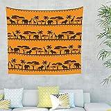 Elefant Löwe Giraffe Baum Wandteppich Wandbehang Tuch Wandtuch Tapestry Tapisserie Wanddeko für Schlafzimmer als Strandtuch Tischdecke Orange 100x150cm