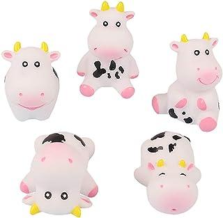 TOYANDONA 5Pcs Cow Figures Bath Squeaky Toys Bathtub Toys Sound Animal Cow Toys Fairy Garden Miniature Figurines Collectio...