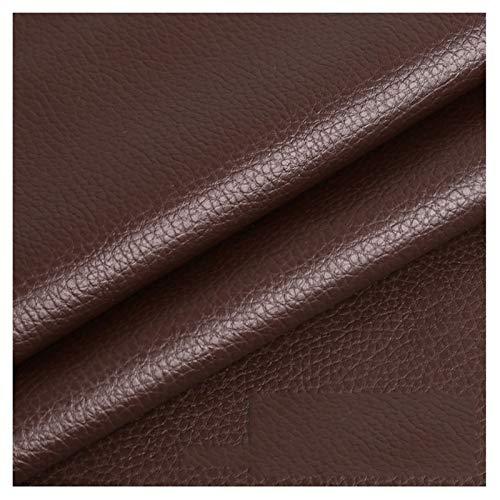 LILAMP Material Texturizado de Tapicería de Cuero Sintético Resistente de Tela de Cuero Sintético - Café Oscuro 1 Metro 100 Cm X 140 Cm(Size:1.4x7m)