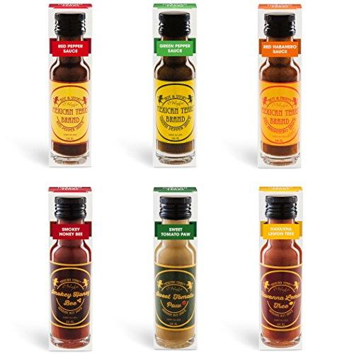 Mexican Tears® - 6er Pack, scharfe Sauce aus Habanero Chili, Chipotle & Meersalz, perfekt zum BBQ, Pulled Pork und zum Würzen von Low Carb Gerichten [6x100ml Chili Sauce]