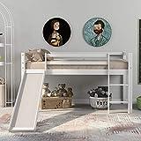 ModernLuxe Bunk Bed Children's Cabin Bed Frame with Slide & Ladder,Wooden Bunk Bed for Kids , Solid Pine Wood Frame with Adjustable Ladder and Slide for office dorm school dorm home
