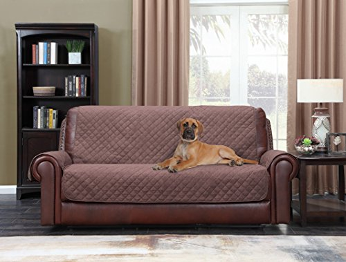 Home Queen Premium Couch Slipcover for Leather Sofa, Non-Slip Water Resistant Sofa Protector for Dogs, Kids, Pets, Sofa Covers 75' L x 110' W, Chocolate