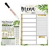 Magnetic Meal Planner for Refrigerator - Greenery Magnetic Weekly Menu Board for Kitchen Conversion Chart Magnet, Weekly Meal Planner Dry Erase Board for Refrigerator, Magnetic Menu Board for Fridge