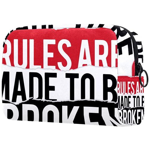 Sminkväska för toalettartiklar för kvinnor handväska kosmetika rese kit organisatör, regler är gjorda för att vara trasiga