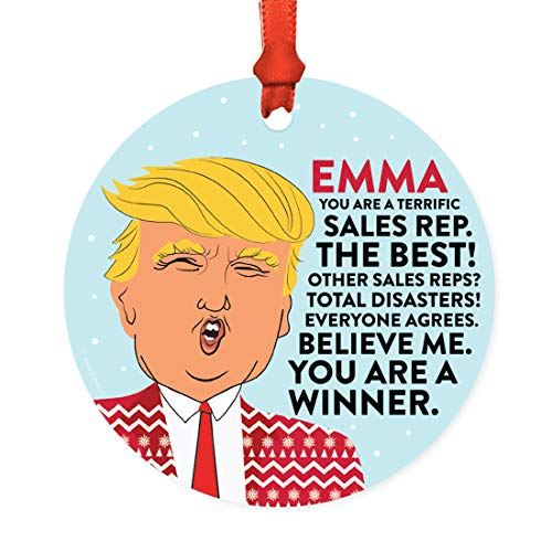 Andaz Press Personalized Name Round Natural Wood MDF Funny Keepsake President Donald Trump Sweater Christmas Tree Ornament, You are a Terrific Sales Rep, 1-Pack, Custom Birthday Ideas