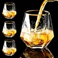 Diamond Whiskey Glasses, 4 PCS Rocks Glasses Gold Banded Cocktail Drinkware for Rum, Scotch or Wine Glasses, Tumblers Old Fashion Elegant Glass Unique Christmas Thanksgiving New year Gifts (Clear)