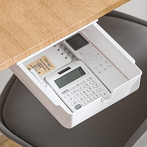 Xnuoyo Unter Schreibtisch Schublade Organizer Lagerung, Versteckte Aufbewahrungsbox, Selbstklebende Schublade, Tisch Aufbewahrungsschublade für Büro, Zuhause, Schule (Weiß)