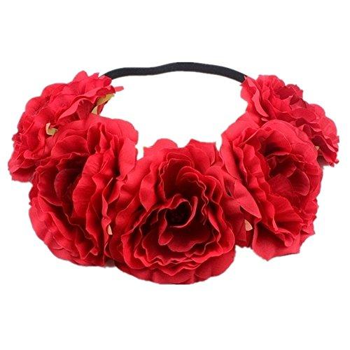 Kanggest 1 Piezas Diadema de Flores Mujer Venda de Pelo Alta Elasticidad Cinta de Pelo Banda Para la Cabeza Para Adornos Para el Pelo Boda(Rojo)