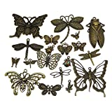 GraceAngie Wholesale 20 piece/pack Mixed Vintage Style Butterfly Animals Dragonfly Insects Charms Pendants