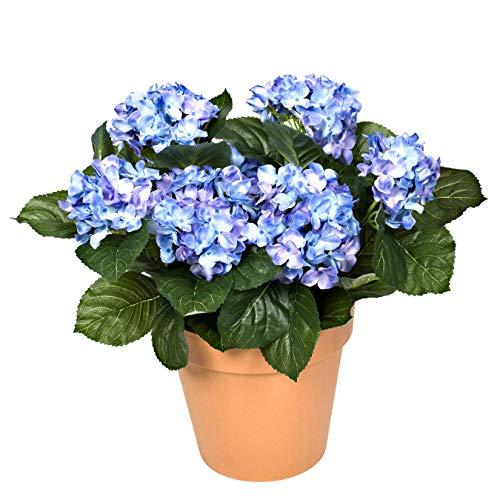 GreenBrokers Hortensia Artificial en Maceta de Color Terracota (46 cm de Altura), Color Azul