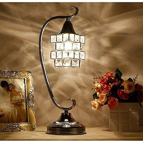 Lámpara de mesa MGWA Crystal Europea y de moda LED lámpara de escritorio, luz nocturna LED, con Full cristal K9 cubo mágico Diseño Pantalla y soporte metálico for el dormitorio, sala de estar, Decorac