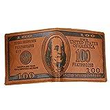 Billetera para hombre de 100 dólares de cuero billete billete billete titular de la tarjeta monedero