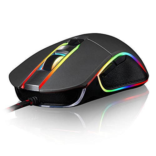 Motospeed V30 Wired 4000 DPI Gaming Mouse Support Macro Programming, with 6 Buttons, Adjustable RGB Backlit, 4 Adjustable DPI Mouse for PC, Laptop, Apple MacBook (Black)