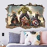 PMSMT Disney Marvel Juguete Pegatina 3D PVC Vengadores Capitán América Iron Man Hulk Thor Spiderman Pegatina de Pared para niños Regalo decoración Juguete