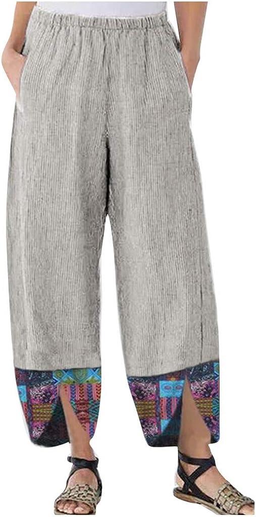 FUNEY Women's Casual Baggy Linen Wide Leg Trousers Plus Size Patchwark Irregular Elastic Waist Relax Fit Harem Pants