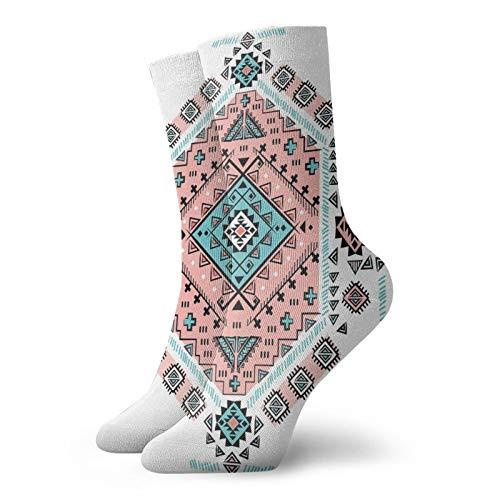 Calcetines suaves de media pierna longitud media pierna mexicana nativa americana étnica simétrica cuatro esquinas, calcetines para mujeres y hombres mejor para correr
