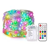 BTF-LIGHTING Chasing Dream Color Full Color 5m/16.4ft 50LEDs Addressable Fairy String Lights Kit, with RF 21key Remote Controller + Battery Box for Decorative Fairy Lights Christmas Lights