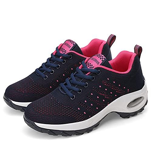 Zapatillas De Deporte Para Mujer Zapatos Con Cojín De Aire Para Caminar Zapatillas De Deporte Informales De Espuma Viscoelástica Para Correr Para Gimnasio Mocasines De Trabajo De Viaje,Rosado,EU36