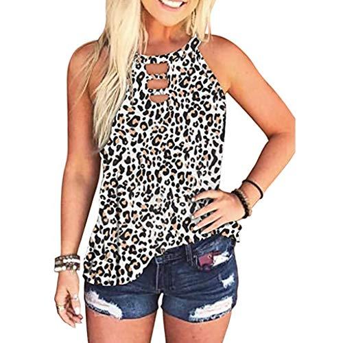 YANFANG Moda Mujer Leopardo/Tie-Dye Sin Mangas Blusa De Verano Casual Camisas,Jersey Angora,Camiseta Mujer,Camiseta Escote Mujer,Camisetas Hombro Fuera,Blanco,M
