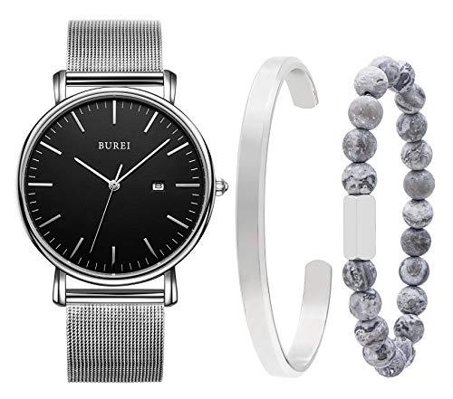 Burei Herren-Armbanduhr, stilvoll, minimalistisch, Quarz, mit einem personalisierten, klassischen Armband, Kombinationsset